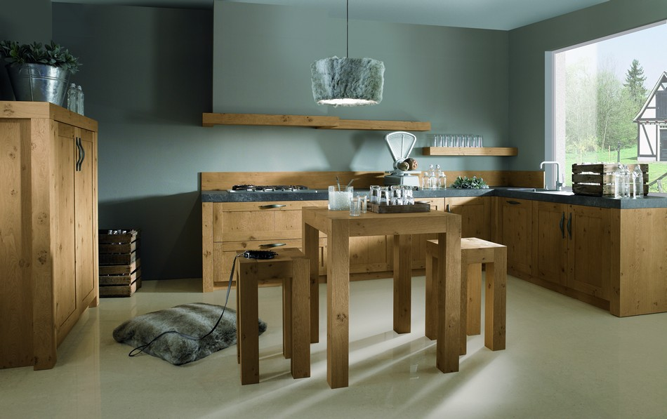 Moderne houten keuken met houten details close up eiland met